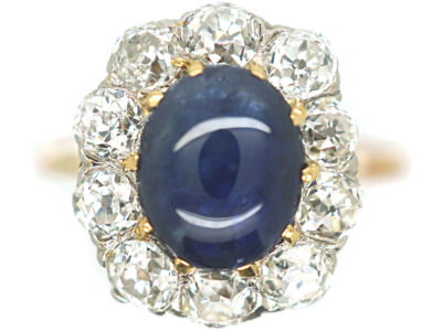 Edwardian 18ct Gold, Cabochon Sapphire & Diamond Ring