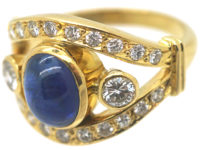 French 18ct Gold Cabochon Sapphire & Diamond Ring