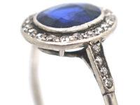 Art Deco Platinum, Burma Sapphire & Diamond Cluster Ring