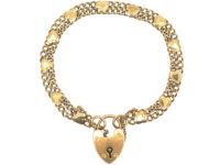 Edwardian 9ct Gold Bracelet with Hearts Motif & Padlock
