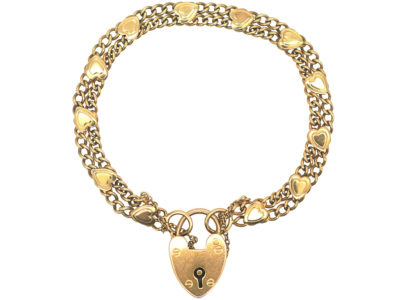 Edwardian 9ct Gold Bracelet with Hearts Motif & Padlock