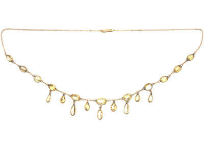 Edwardian 15ct Gold & Topaz Drops Necklace