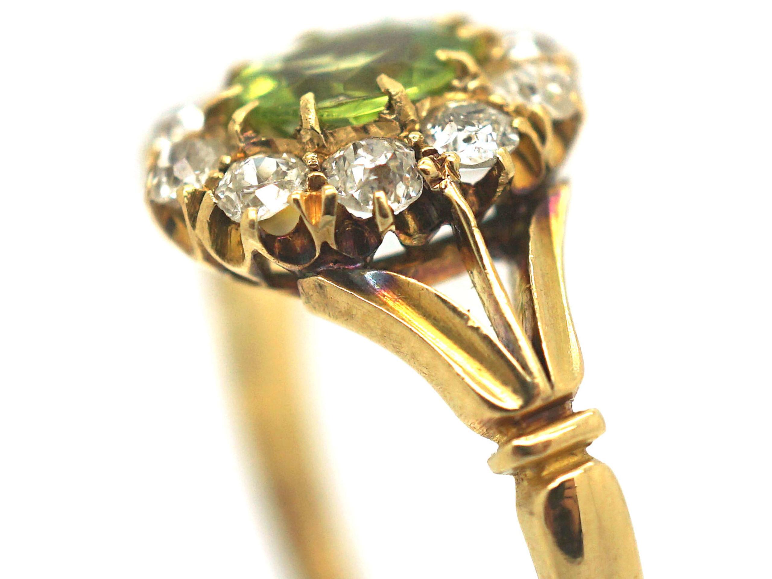 Edwardian 18ct Gold, Peridot & Diamond Oval Cluster Ring