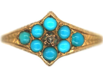 Victorian 15ct Gold, Turquoise & Diamond Forget Me Not Ring
