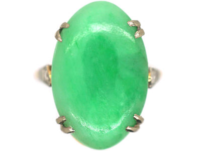 Art Deco 18ct Gold & Platinum Jade Ring with Diamond Set Shoulders