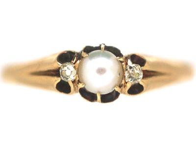 Edwardian 18ct Gold, Natural Split Pearl & Diamond Ring