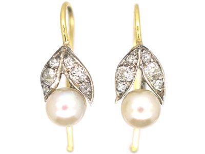 Edwardian 15ct Gold & Platinum, Diamond & Pearl Earrings
