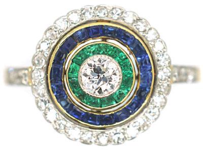 Art Deco 18ct Gold & Platinum, Diamond Emerald & Sapphire Target Ring