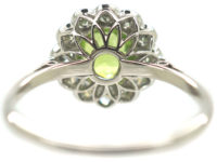 Edwardian 18ct White Gold & Platinum, Peridot & Diamond Cluster Ring
