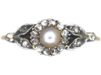 Edwardian 14ct Gold Rose Diamond & Natural Bouton Pearl Cluster Ring with Rose Diamond set Leaf Shoulders