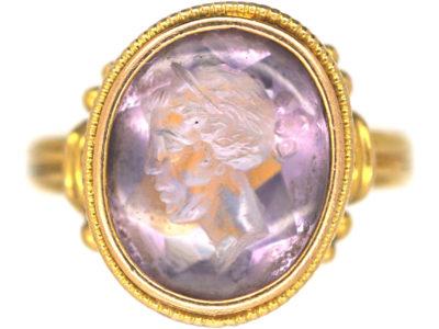 Victorian 18ct Gold & Amethyst Intaglio Ring of a Grecian Ladies Head