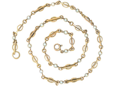 9ct Gold & Cultured Pearl Chain by Deakin & Francis