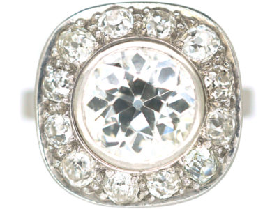 Art Deco Platinum Large Diamond Cluster Ring