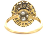 Edwardian 18ct Gold Oval Old Mine Cut & Rose Cut Diamond Cluster Ring