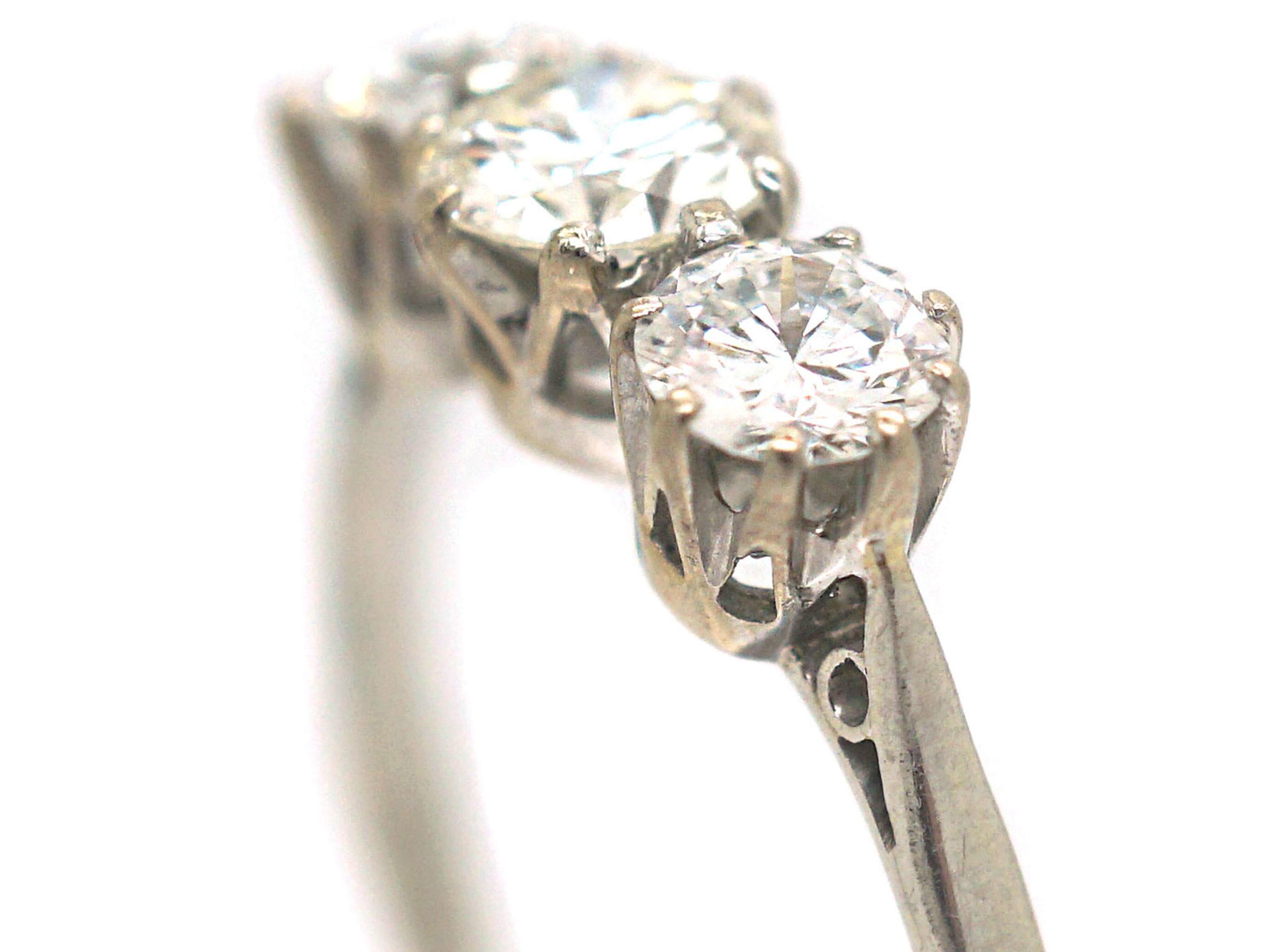 Art Deco Platinum, Three Stone Diamond Ring