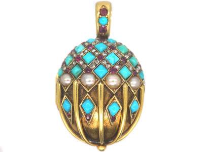 Victorian 18ct Gold Ruby, Natural Split Pearl, Rose Diamond & Turquoise Pendant with Hinged Locket on the Reverse
