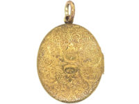 Victorian 15ct Gold Oval Engraved Locket