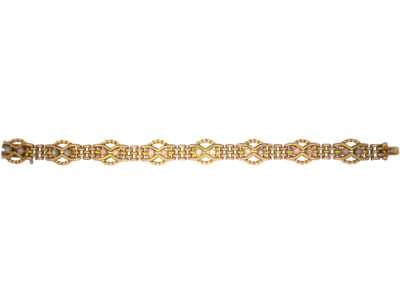Edwardian 9ct Gold & Opal Gate Bracelet