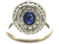 Art Deco Platinum Two Row Diamond & Sapphire Cluster Ring