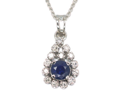 18ct White Gold, Sapphire & Diamond Pendant on 14ct White Gold Chain