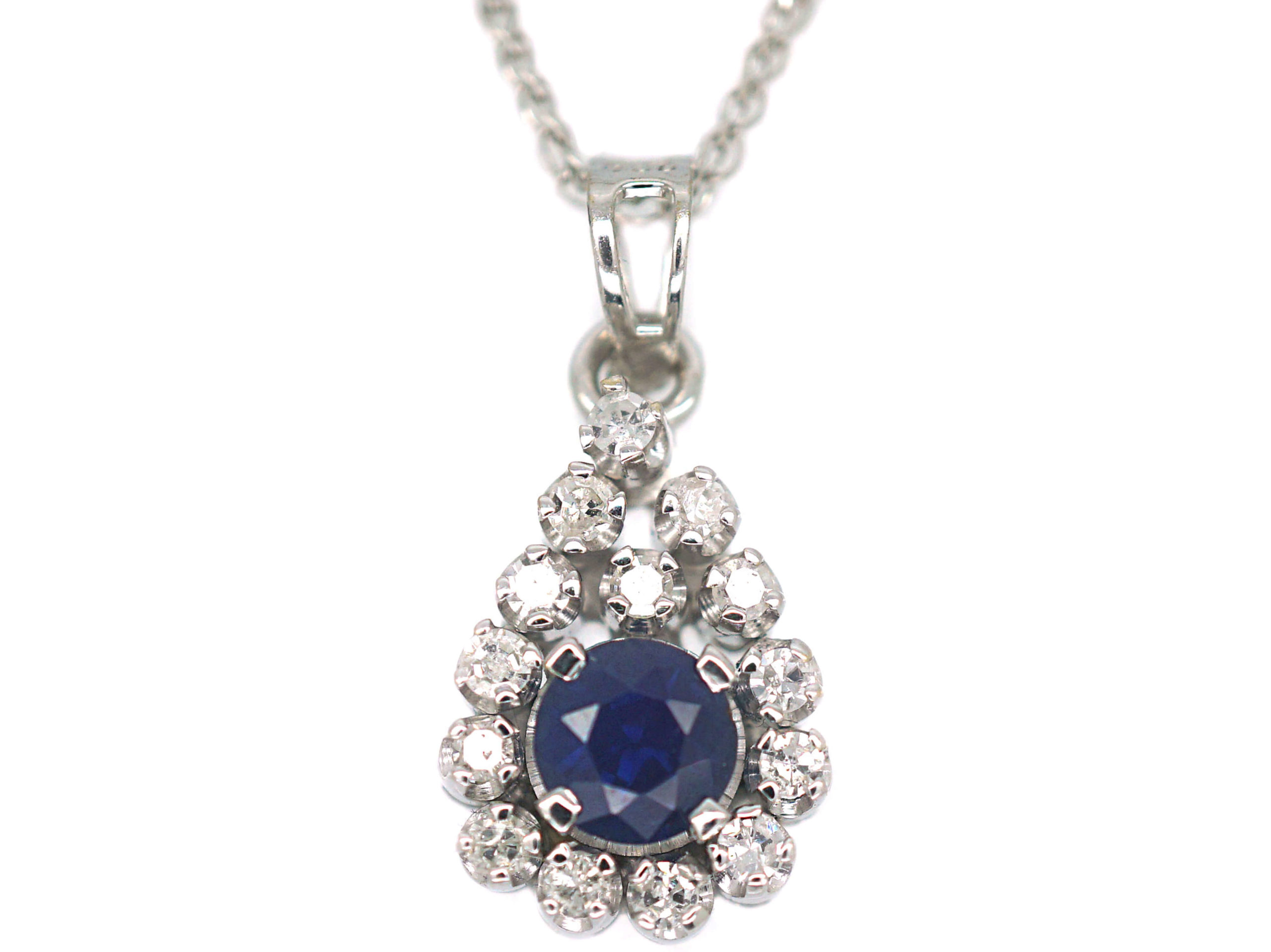 18ct White Gold, Sapphire & Diamond Pendant on 14ct White Gold Chain
