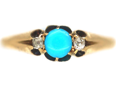 Edwardian 18ct Gold, Turquoise & Diamond Ring
