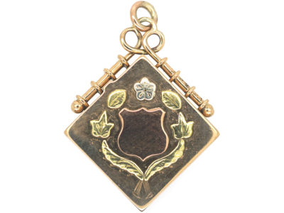 Edwardian 15ct Three Colour Gold Diamond Shaped Locket