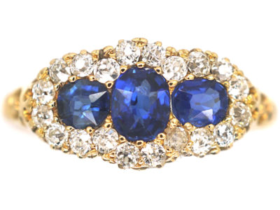 Edwardian 18ct Gold Three Stone Sapphire & Diamond Cluster Ring