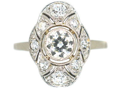 Art Deco 18ct White Gold & Platinum, Diamond Ring