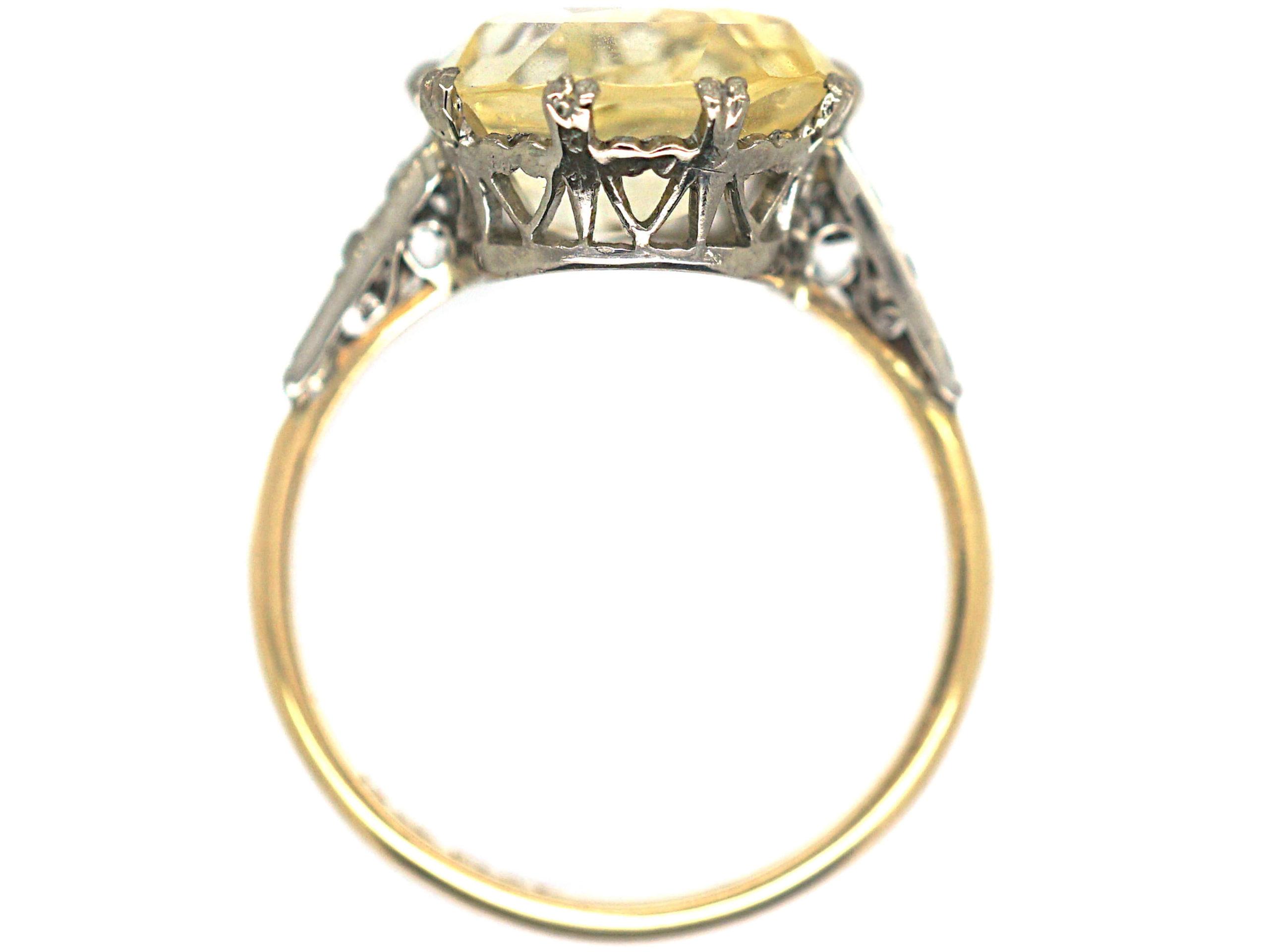 Art Deco 18ct Gold & Platinum, Yellow Sapphire & Diamond Ring