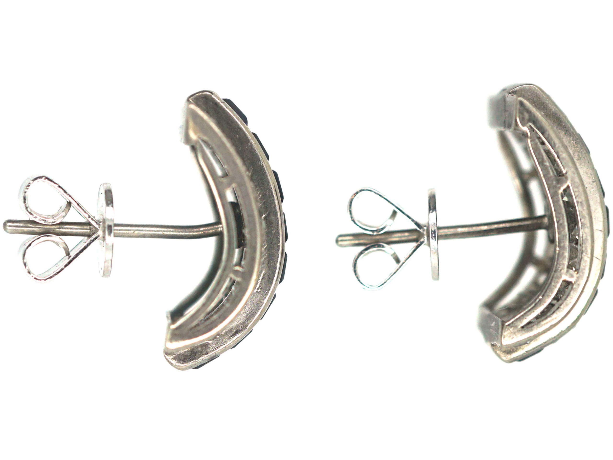 Art Deco 18ct White Gold Sapphire & Diamond Curve Earrings