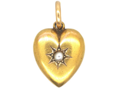 Edwardian 15ct Gold Heart Shaped Pendant set with  a Natural Split Pearl