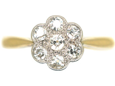 Edwardian 18ct Gold & Platinum, Diamond Daisy Cluster Ring
