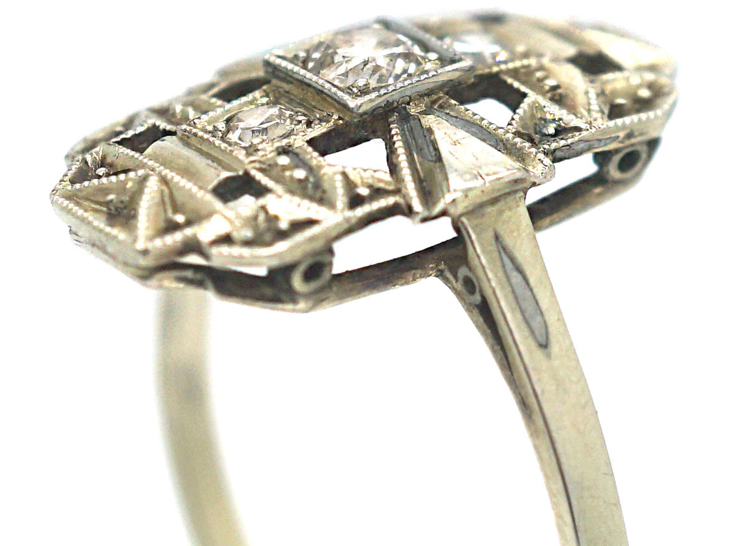 Art Deco 14ct White Gold Rectangular Shaped Ring set with Diamonds