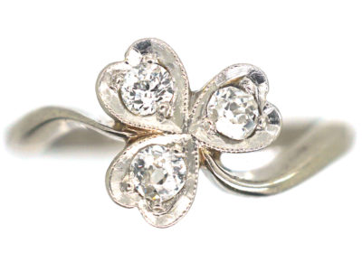 Edwardian 18ct White Gold & Platinum, Diamond Three Leaf Clover Ring