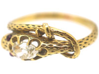 Georgian 18ct Gold Snake Ring set with a Rose Diamond & Cabochon Ruby Eyes