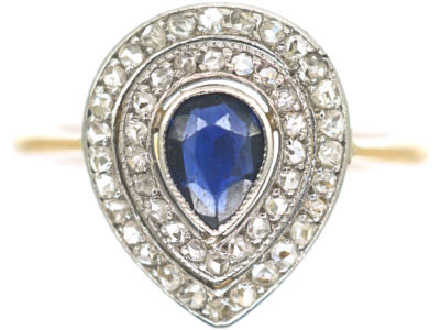 Edwardian 18ct Gold & Platinum, Pear Shaped Sapphire & Rose Diamond Cluster Ring