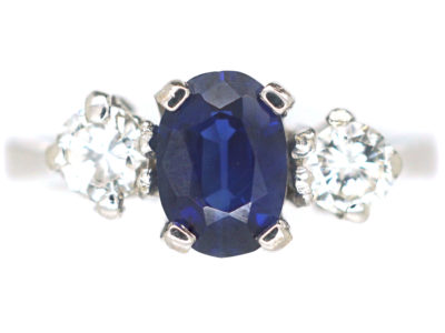 18ct White Gold, Sapphire and Diamond Three Stone Ring