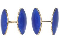 Silver & Blue Enamel Cufflinks by O.F.Hjortdahl