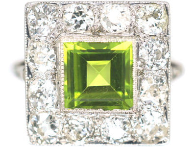 Platinum, Peridot & Diamond Square Shaped Ring