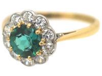 Edwardian 18ct Gold & Platinum, Green Tourmaline & Diamond Cluster Ring