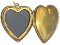 Edwardian 9ct Back & Front Heart Shaped Locket with Star Motif