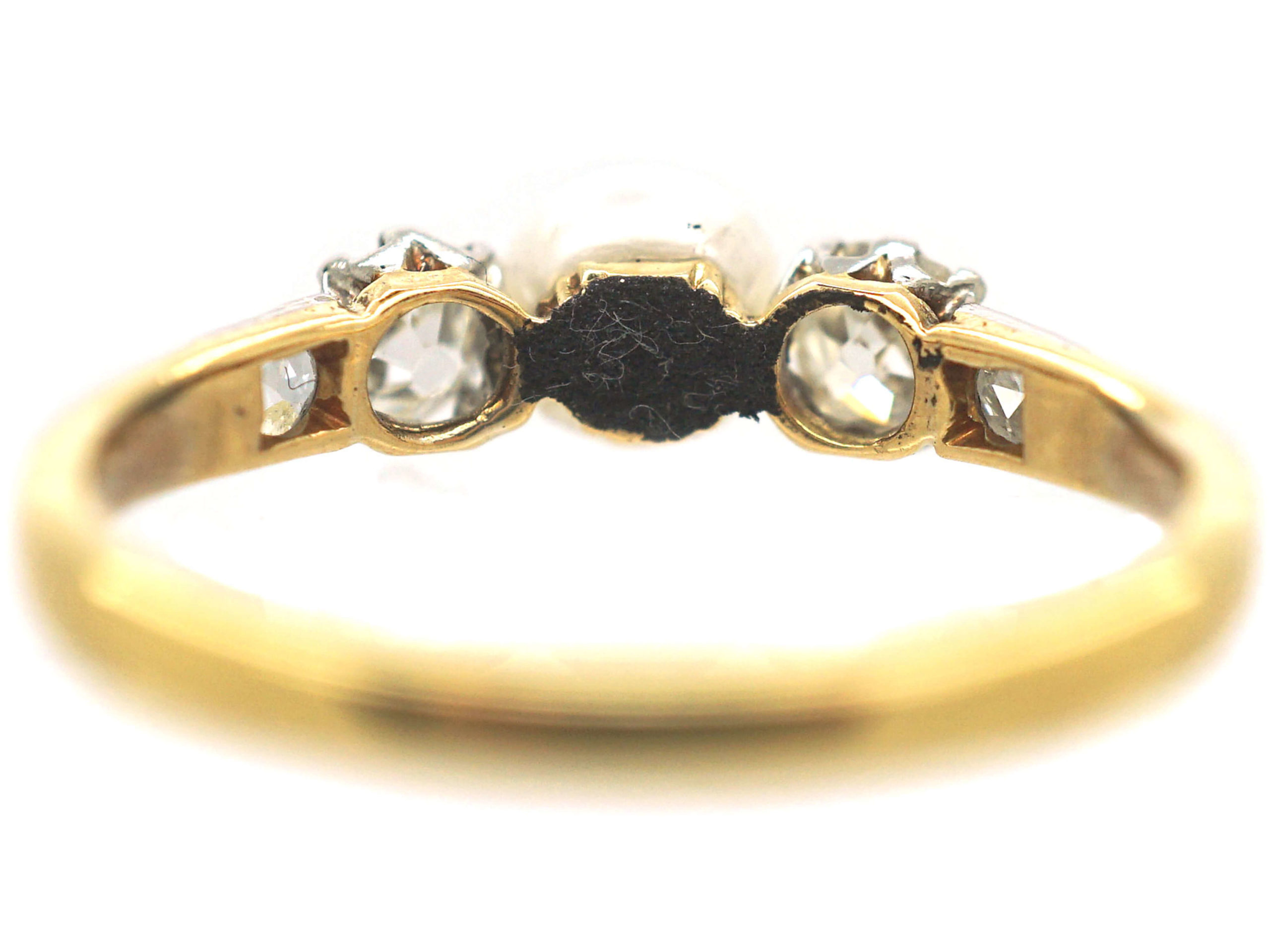 Edwardian 18ct Gold Old Mine Cut Diamond & Natural Bouton Pearl Ring