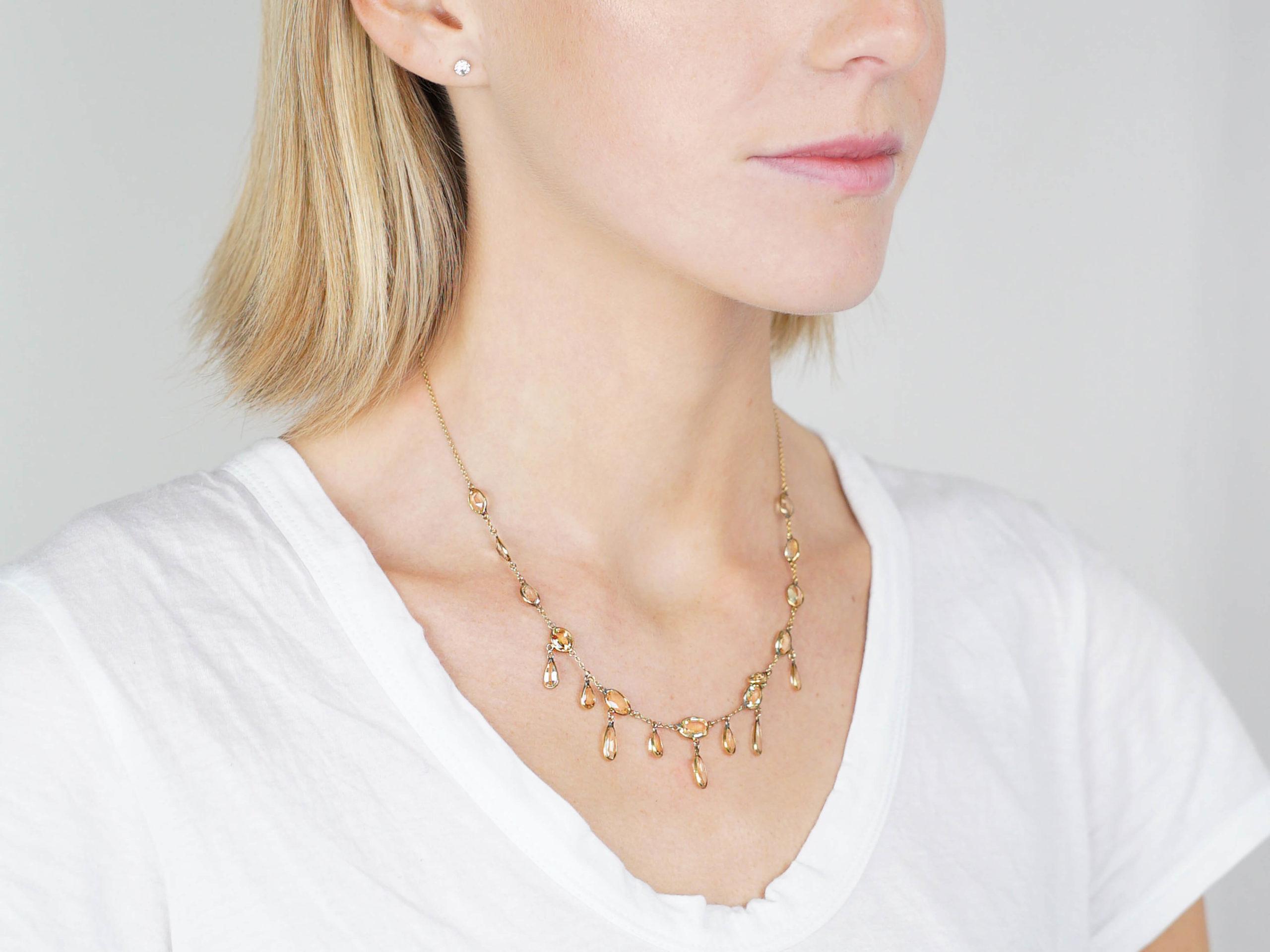 Edwardian 15ct Gold & Topaz Drops Necklace