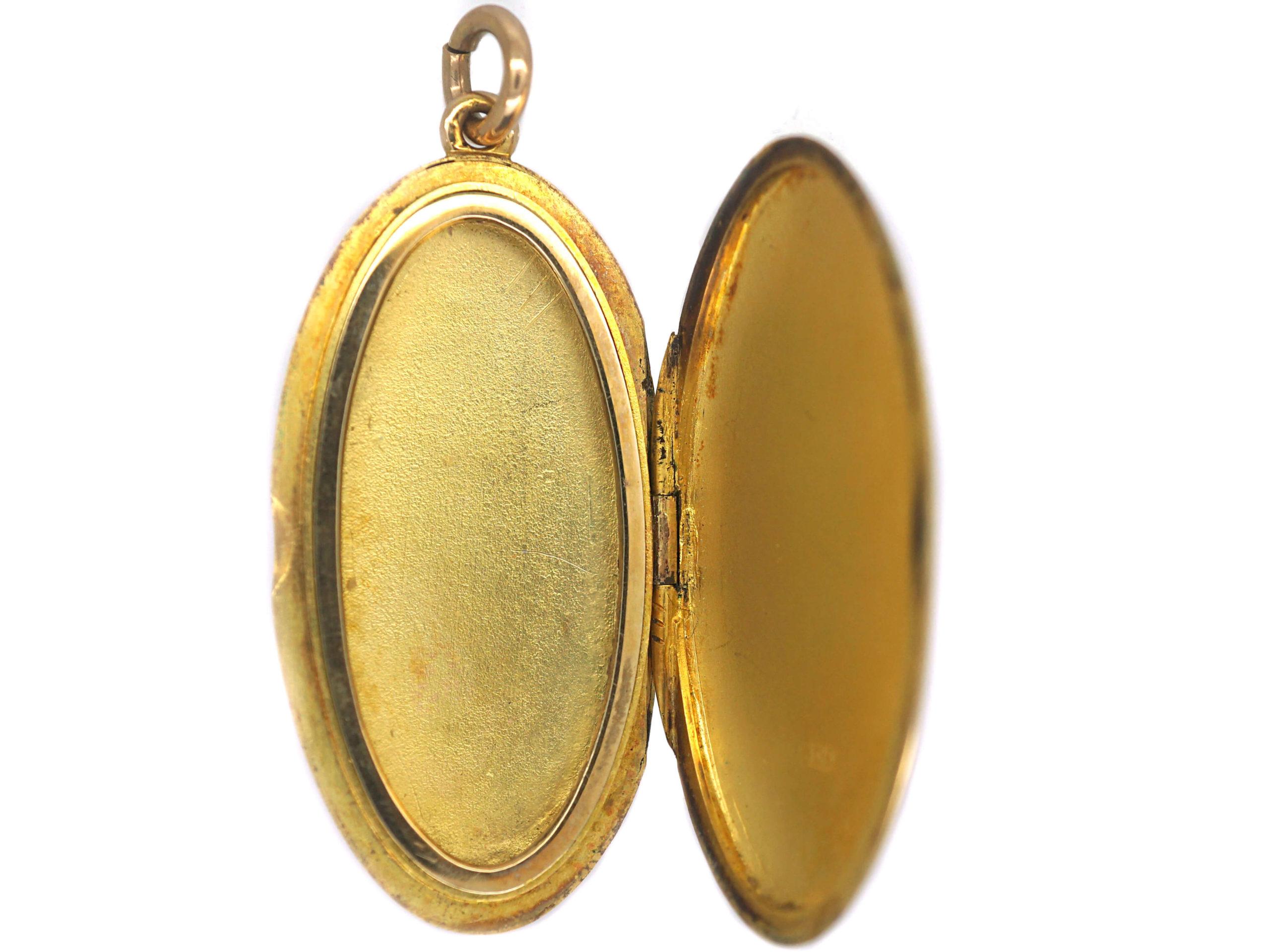 Edwardian Slim Oval 15ct Gold Locket