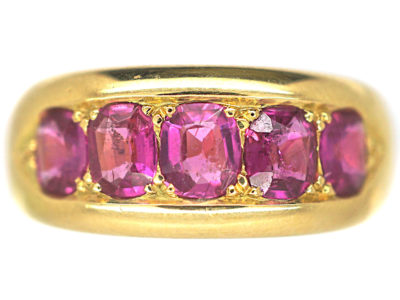 Victorian 18ct Gold, Five Stone Ruby Ring