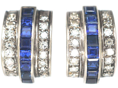 Art Deco 18ct White Gold Sapphire & Diamond Curve Earrings