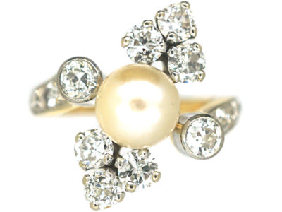 French Retro 18ct Gold & Platinum, Diamond & Pearl Ring
