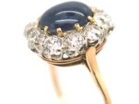 Edwardian 18ct Gold, Cabochon Sapphire & Diamond Ring