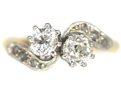 Edwardian 18ct Gold & Platinum, Two Stone Crossover Diamond Ring
